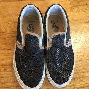 Girls, 2.5, Vans Snakeskin Slip On Sneakers